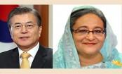 South Korean president greets Sheikh Hasina