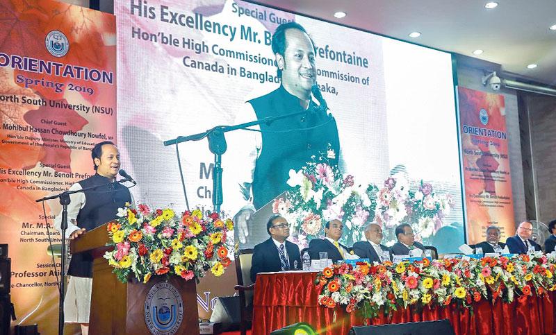 Nowfel speaks at an orientation programme