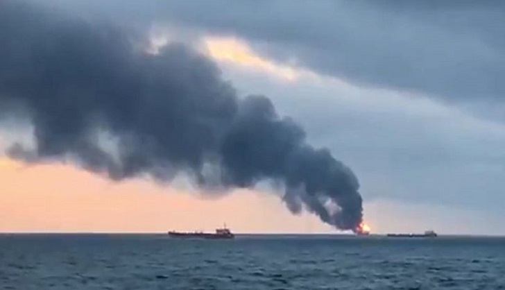 20 presumed dead from ship fires off Crimea