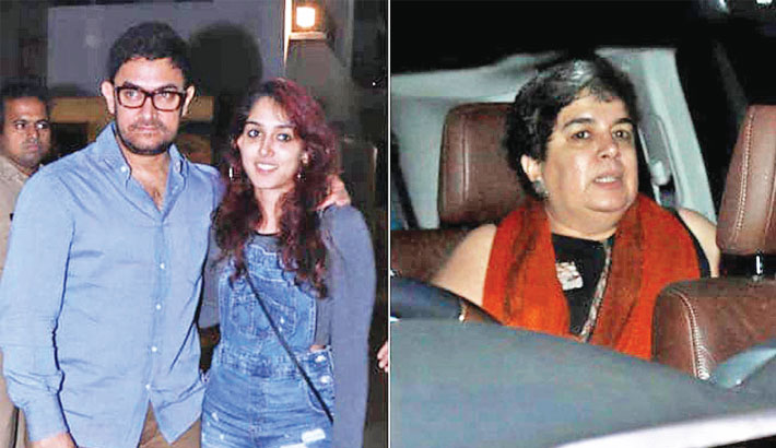 Aamir spotted with ex-wife Reena, daughter Ira