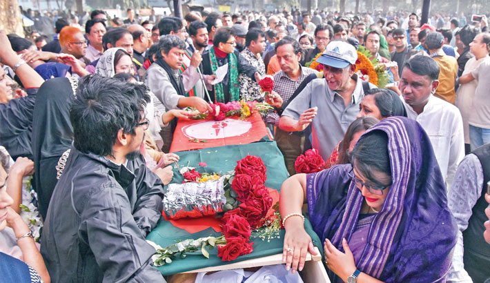 People from all social strata pay their last respects to legendary musician and freedom fighter Ahmed Imtiaz Bulbu