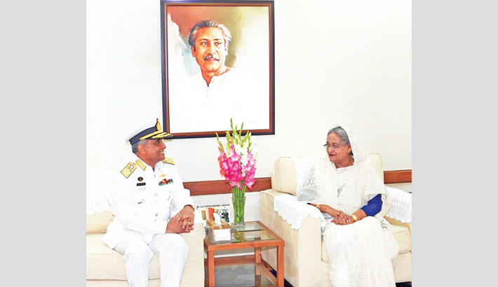 Outgoing Chief of Naval Staff Admiral Nizamuddin Ahmed pays a farewell call on Prime Minister Sheikh Hasina