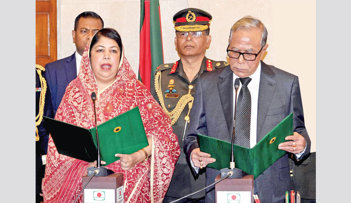 President Abdul Hamid administers oath to newly appointed Speaker of the 11th Jatiya Sangsad Shirin Sharmin Chaudhury