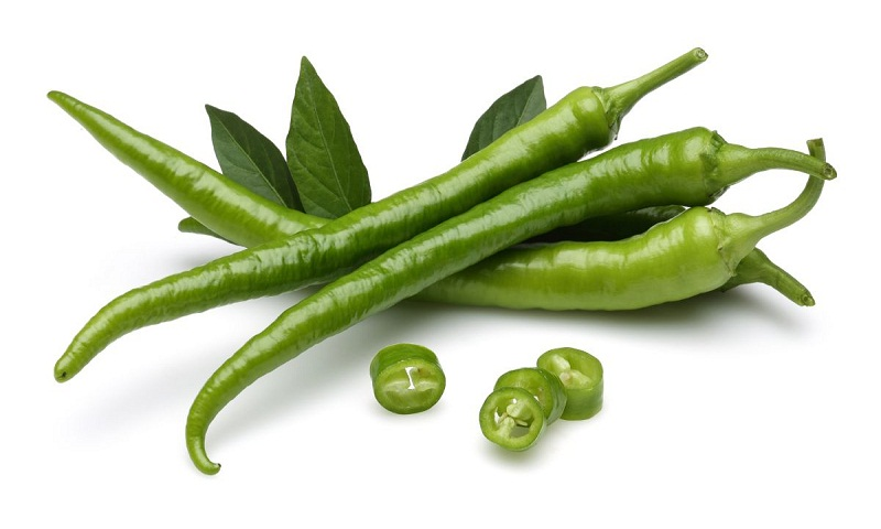 Green chillies are rich in fiber and various nutrients