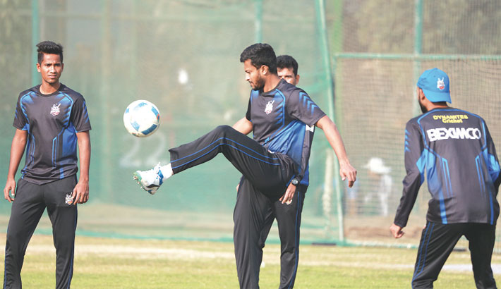 Dhaka Dynamites players are seen during their practice session
