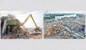 Illegal structures knocked down to free Buriganga, Karnaphuli