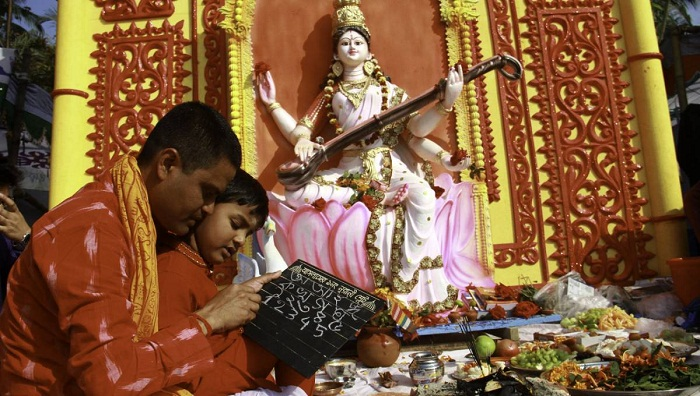 Saraswati  Puja celebrated  with festivity, religious fervour