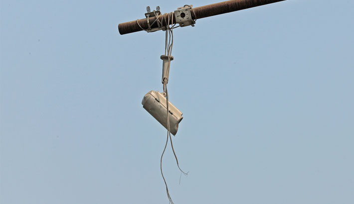 A CCTV camera installed by law enforcers in Mirpur embankment area