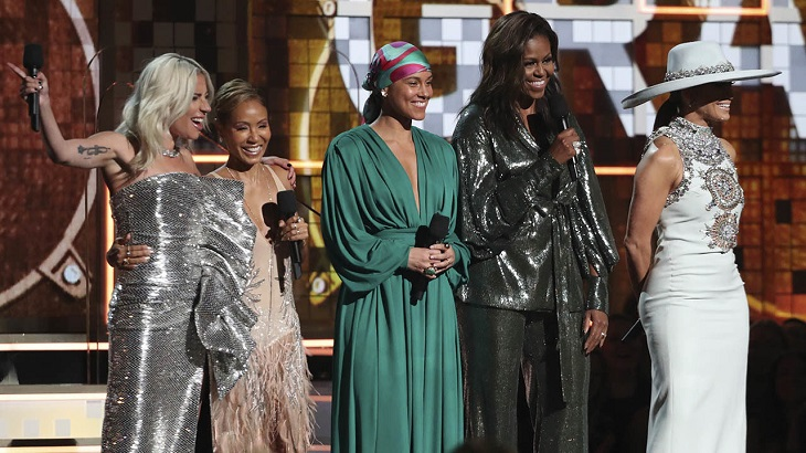 Michelle Obama surprises Grammy crowd with girl power message