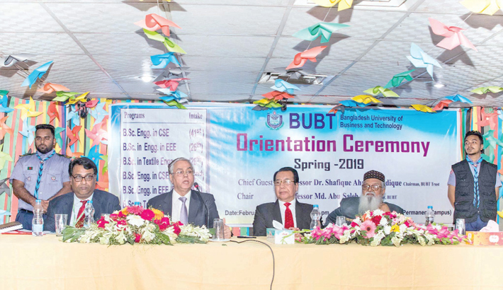 Guest speaks at an orientation programme for newly enrolled students