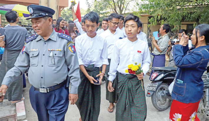 Myanmar students sentenced to hard labour over protest