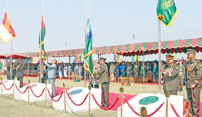 Army hoists flags at Sheikh Hasina Cantonment in Barishal