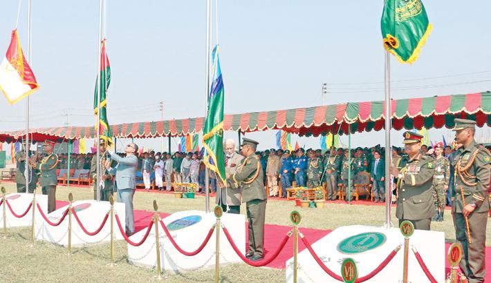 Army hoists flags at Sheikh Hasina Cantonment in Barishal