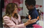 Melania makes Valentine's Day art with pediatric patients