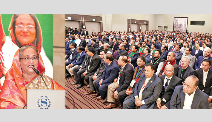 Sheikh Hasina speaks at a reception organised