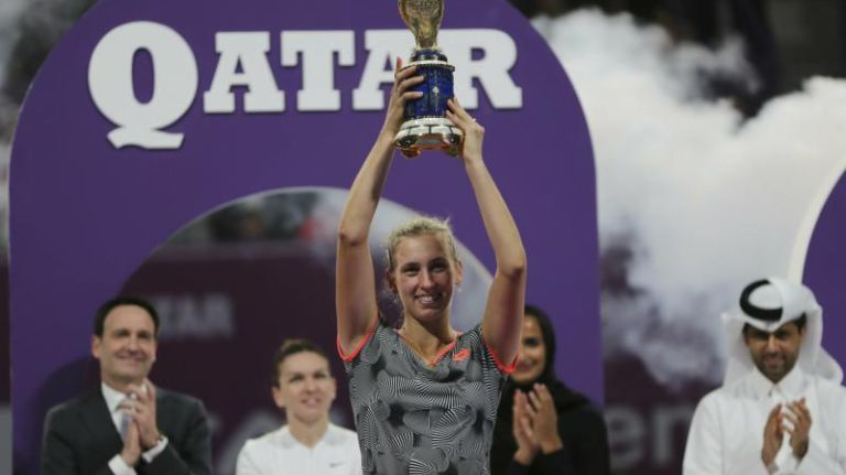 Mertens upsets Halep in Qatar Open final for biggest title