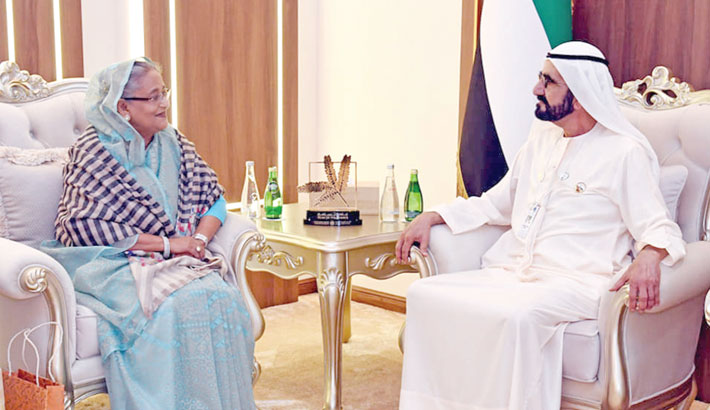 Sheikh Hasina holds bilateral talks with her UAE counterpart Sheikh Mohammed bin Rashid Al Maktoum