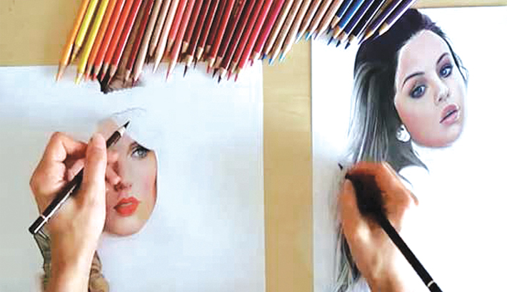 Realistic portraits by ambidextrous artist