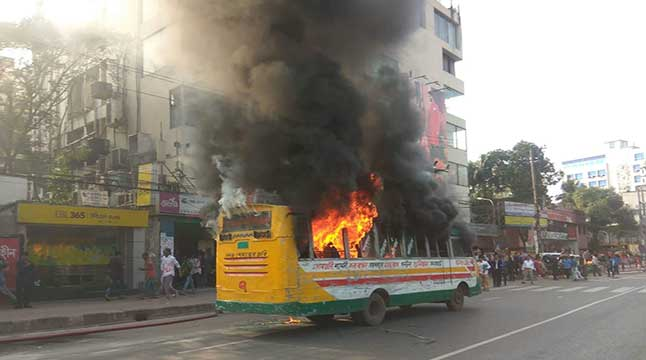 8 sustain burn injuries as bus catches fire in city