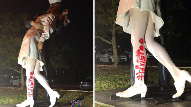 WW2 kiss statue vandalised with '#MeToo'