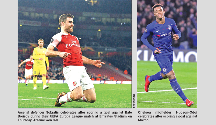 Arsenal, Chelsea cruise into Europa 16