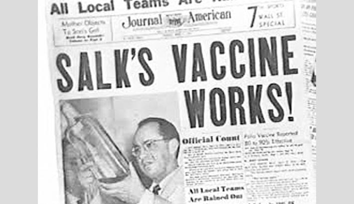 Children receive first polio vaccine
