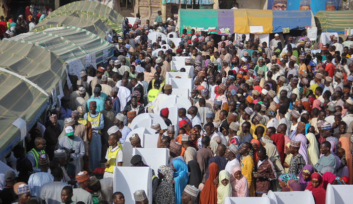 Voters gather to vote at Maiduguri in Nigeria