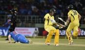 Australia wins on last ball in 1st ODI against India