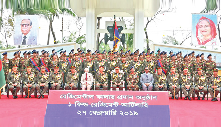 Regimental colour handover ceremony