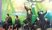 Artistes perform in a mime show at the main stage of Amar Ekushey Book Fair-2019 in Pabna on Monday
