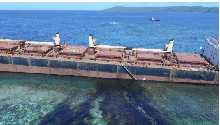 Grounded ship leaks 80 tons of oil near Solomon Islands