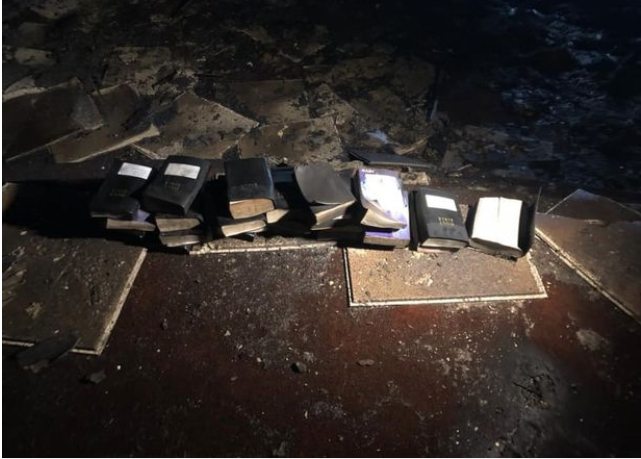 Books survive massive church fire that destroyed rest of building