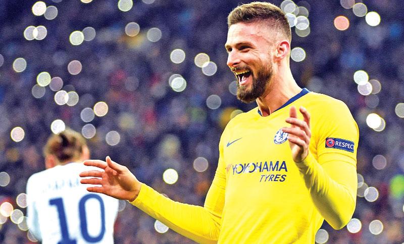 Giroud helps Chelsea into Europa quarters