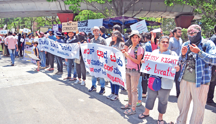 Protest against the proposed steel bridge flyover