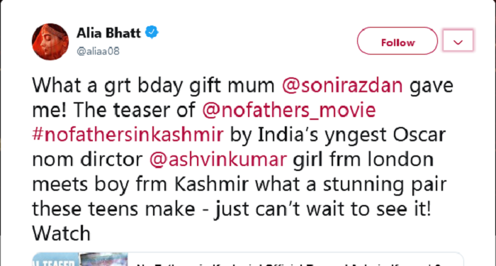 """""""No Fathers in Kashmir"""" teaser as the best gift for Alia from her mother Soni"""