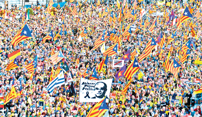 Demonstration against the trial of catalan separatist leaders