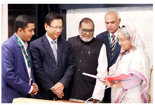 PM unveils cover of book 'Bangla Bhashar Bangabandhu'