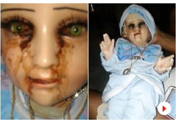 Baby Jesus statue 'cries tears of blood'