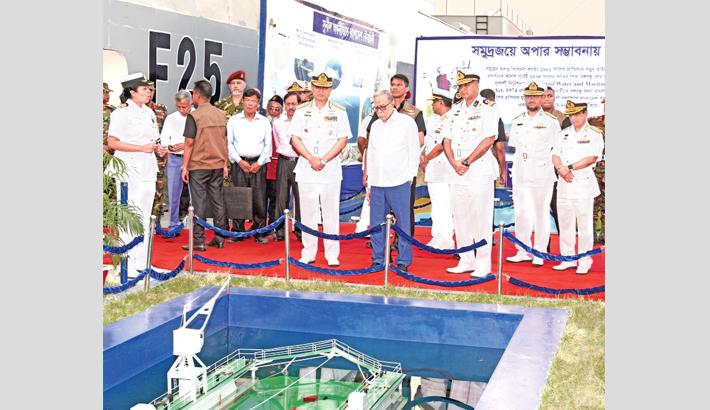 President M Abdul Hamid visits a stall of Bangladesh Navy