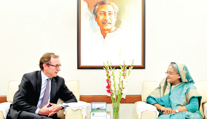 Newly appointed British High Commissioner to Bangladesh Robert Chatterton Dickson calls on Prime Minister Sheikh Hasina