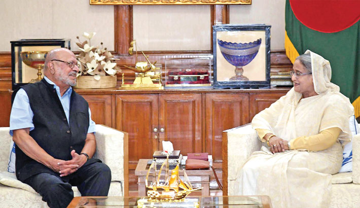 Indian film director and screenwriter Shyam Benegal calls on Prime Minister Sheikh Hasina