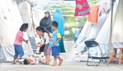 Indonesian children living at a temporary shelter