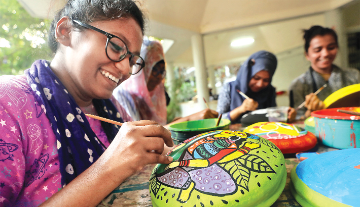 Making various types of artworks to celebrate Pahela Baishakh