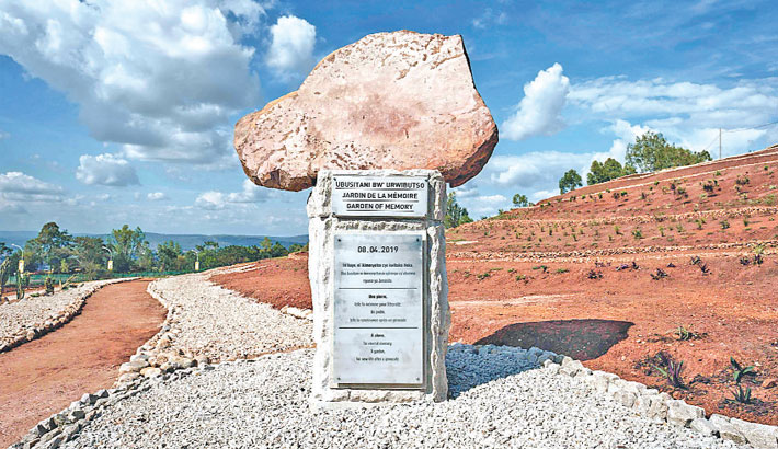 A stone monument is seen after the inauguration of the Garden of Memory on Monday