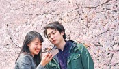 People take photographs in front of cherry blossoms