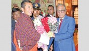President Abdul Hamid greets Bhutanese Prime Minister Dr Lotay Tshering