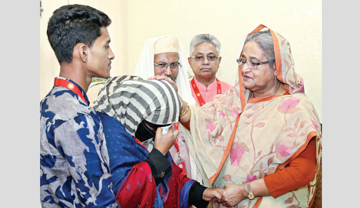 Prime Minister Sheikh Hasina members of the bereaved family of Nusrat Jahan Rafi