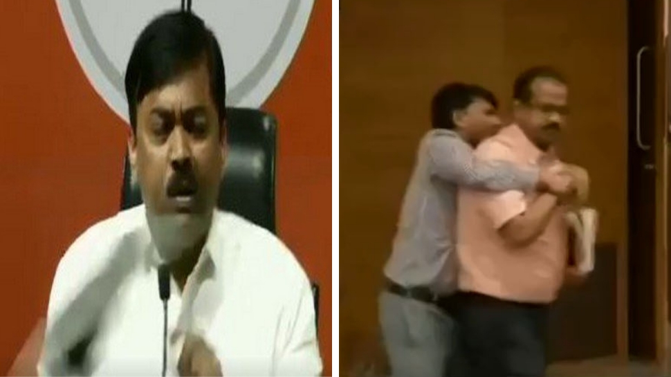 Shoe thrown at BJP MP during press conference (Video)