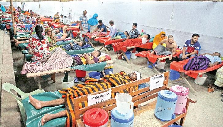 Diarrhoea patients crowding hospitals