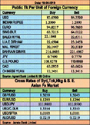 Taka gains against euro